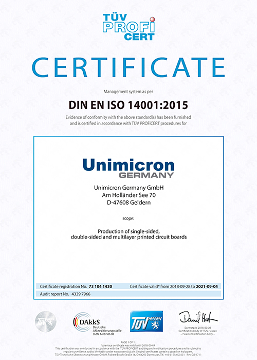Environmental management system according to DIN EN ISO 14001